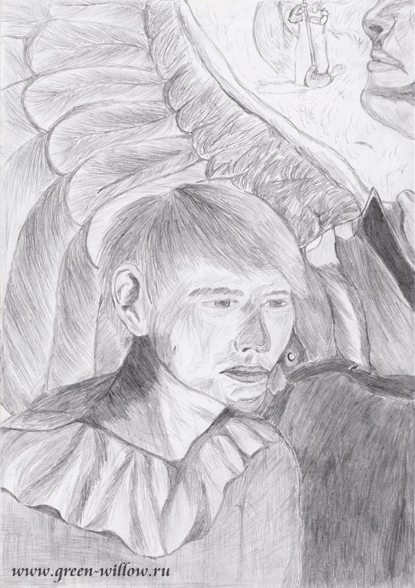 Крыло ангела, рисунок карандашом