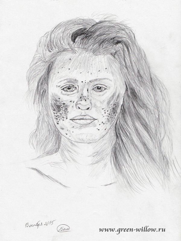 Портрет девушки, рисунок карандашом